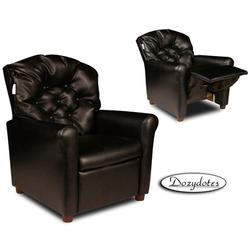 Dozydotes 10162 Leather-Like Classic 7 Button Childreb's Recliner - Black