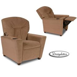 Dozydotes 10156 MicroSuede Children's Recliner with Cup Holder - Tumbleweed