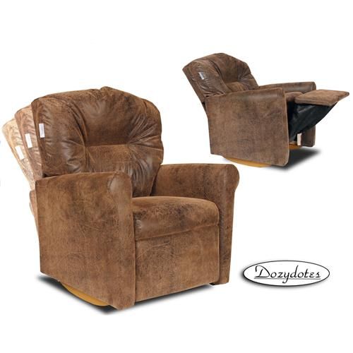Dozydotes Dozydotes 10583 Leather Like Contemporary Childrens Rocker Recliner - Brown Bomber