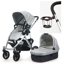 UPPAbaby 0056-MCA VISTA Stroller, Mica (Silver) With a Cup Holder