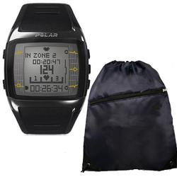 Polar FT60 Heart Rate Monitor 99041404, Male Black with White Display and FREE Cinch Bag