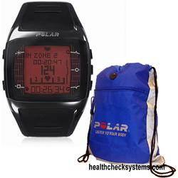 Polar FT60 Heart Rate Monitor 90032301, Male Black with Red Display and FREE Polar Cinch Bag
