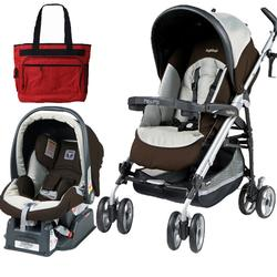Peg Perego Pliko P3 Travel System Classic Java with Free Diaper Bag
