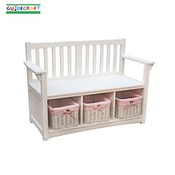 Guidecraft 85708 Classic White Storage Bench with Baskets