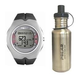 Polar 99039467 F-7 Heart Rate Monitor, Grey with Stainless Steel Water Bottle