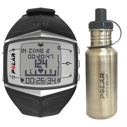 Polar 99039472 FT60 Heart Rate Monitor, Female Black with Stainless Steel Water Bottle
