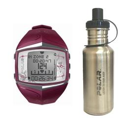 Polar 99039473 FT60 Heart Rate Monitor, Female Purple with Stainless Steel Water Bottle