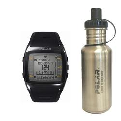 Polar 99039474 FT60 Heart Rate Monitor, Male Black with White Display with Stainless Steel Water Bottle
