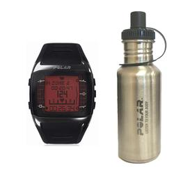 Polar 99039475 FT60 Heart Rate Monitor, Male Black with Red Display with Stainless Steel Water Bottle