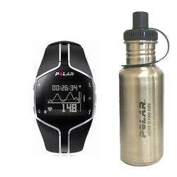Polar 99039468 FT80 Heart Rate Monitor, Black with Stainless Steel Water Bottle