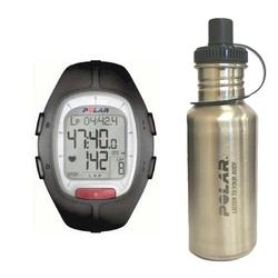 Polar 99039476 RS-100 Heart Rate Monitor, Black with Stainless Steel Water Bottle