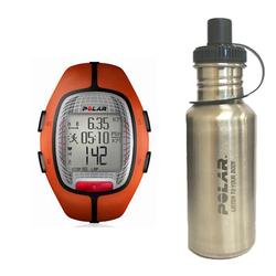 Polar 99039456 RS-300XOG Heart Rate Monitor, Orange with Stainless Steel Water Bottle