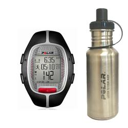 Polar 99039457 RS-300XBK Heart Rate Monitor, Black with Stainless Steel Water bottle