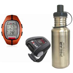 Polar 99039465 RS-300XG1OG Heart Rate Monitor With G1 GPS, Orange with Stainless Steel Water Bottle