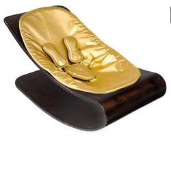 Bloom E10601-CSGL, Coco Stylewood Baby Lounger - Cappuccino Frame & Metallic Solar Gold Seat Pad