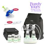 Ameda 17075KIT3, Combo #3 Purely Yours Breast Pump, with Back Pack, Free Omron Digital Thermometer, and Baby Medicine Dispenser