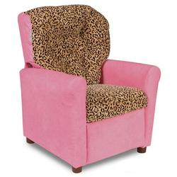 Dozydotes 10248 Leather Like Classic 7 Button Childrens Recliner - Pretty Kitty Pink