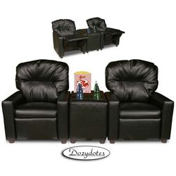 Dozydotes 10772 Leather Like Child Recliner Chair Theater Seating, Black