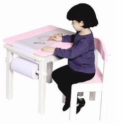 Guidecraft 98048 Art Table & Chair Set, Pink