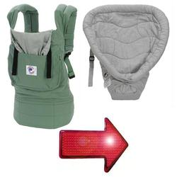 Ergo Baby BC11TOS-KIT2 Organic Twill Sea Green  With Silver Infant Insert & LED Safety Reflector Light