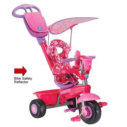 Smart Trike 1562211LED, Deluxe Baby to Toddler Tricycle with Light Reflector Kit  - Pink Flowers