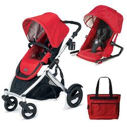 Britax U281771KIT1, B-Ready Stroller and Red 2nd Stroller Seat - Red