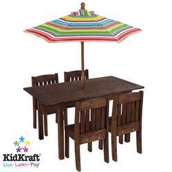 KidKraft 00046 Table & Stacking chairs w/ Striped Umbrella