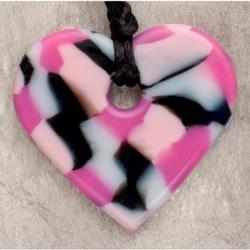 Teething Bling HPEN-PCHRT Baby Teething Heart Pendant, Pink Camouflage