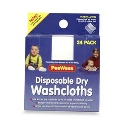 PeeWees DW24 Disposable Dry Washcloths - Small