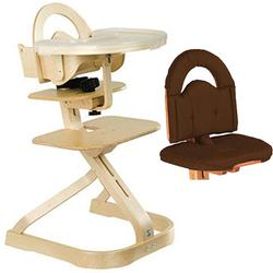 Scandinavian Child Svan Signet Complete High Chair , Natural Finish With Chocolate Cushion