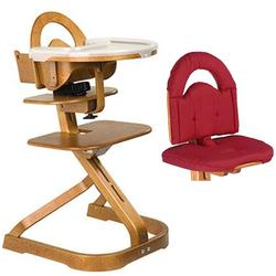 Scandinavian Child Svan Signet Complete High Chair Cherry Finish With Red cushion
