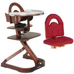 Scandinavian Child SvanSignet Complete High Chair Mahogany Finish With Red cushion