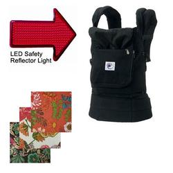 Ergo Baby BCC001OCPI, Options Baby Carrier - Black w/India option covers and LED Safety Reflector Light