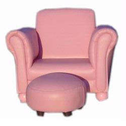 Giftmark 6705P Upholstered Childs Chair and Ottoman, Pink