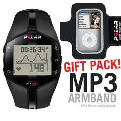 Polar 90040136 FT80 WD Heart Rate Monitor, Black with MP3 Armband