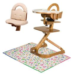 Scandinavian Child  Svan Signet Complete High Chair, Cherry Finish With Oatmeal Cushion and Splat Mat