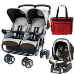 Peg Perego Aria Twin 60/40 Travel System & Diaper Bag - Java