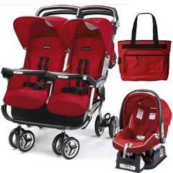 Peg Perego 2011 Aria Twin 60/40 Travel System & Diaper Bag - Geranium