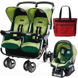 Peg Perego 2011 Aria Twin 60/40 Travel System & Diaper Bag - Myrto