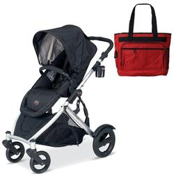 Britax BSTRBLKBAG, B-Ready Stroller - Black with a Red Diaper Bag