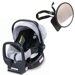 Britax E9L692JKIT1, Chaperone Infant Carrier/Child Seat - Black/Silver with Back Seat Mirror