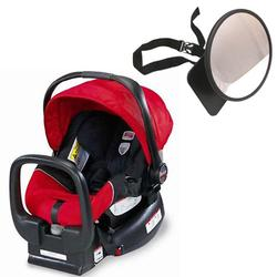 Britax E9L692KKIT1, Chaperone Infant Carrier/Child Seat - Red with Back Seat Mirror