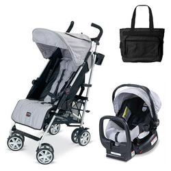 Britax U351780KIT2, B-Nimble stroller - Black/Silver with Diaper bag and Chaperone Car Seat