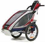 Chariot 10101204, CX1 Chariot's ultra deluxe 1 child CTS Chassis only - Burgundy/grey/silver