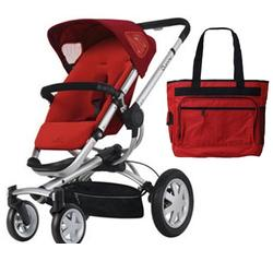 Quinny CV155RLRKIT Buzz 4 Stroller - Rebel Red With diaper bag