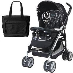 Peg Perego 2011 Pliko P3 Compact Stroller with Diaper Bag -  Fantasy Nero