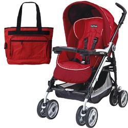 Peg Perego 2011 Pliko P3 Compact Stroller with Diaper Bag - Geranium Red