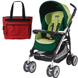 Peg Perego Pliko P3 Compact Stroller with Diaper Bag - Myrto Green