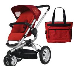 Quinny CV155RLKIT1 Buzz 3 Stroller - Rebel Red With a Diaper Bag