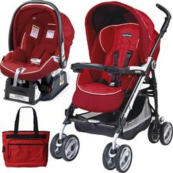 Peg Perego 2011 Pliko P3 Travel System with a Diaper Bag - Geranium Red